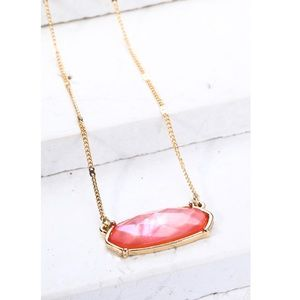 Pink Gold Necklace Bead Trim Oval Pendant Charm